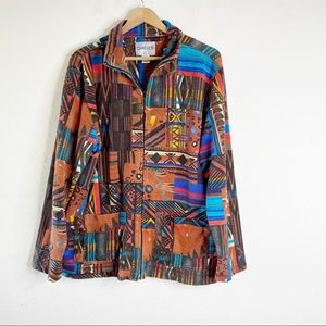 CHICO'S Boho Southwest Aztec Full Zip Jacket 3 XL